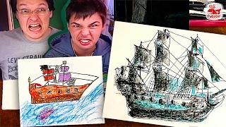 Черная Жемчужина Пираты Карибского моря 5 рисуем корабль