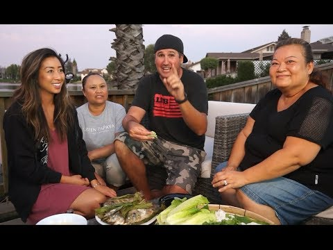 Catch and cook with Lao cooking stars! Khao poon & Banana wrapped grilled fish!