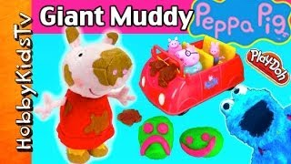 BIG Muddy Peppa JUMPING Talking Plushy! Cookie Monster Wants Kinder Surprise Eggs by HobbyKidsTV