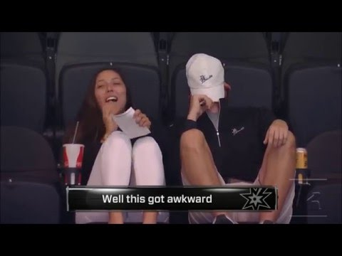 Couple forced to KISS CAM | NBA JAZZ @ SPURS | 16 Dec-2015