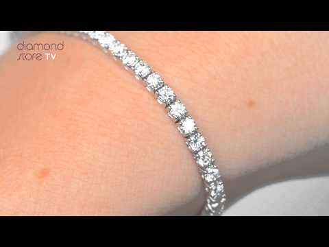 FDT23 5 - 3ct Diamond Tennis Bracelet Set In 18K White Gold