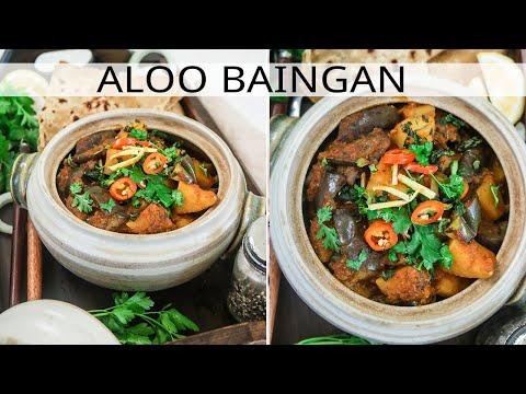 Aloo baingan - Eggplant and Potato Curry - Vegan and Gluten free
