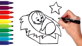 How to Draw Baby Jesus in Manger | Drawing and Coloring Baby Jesus for Kids