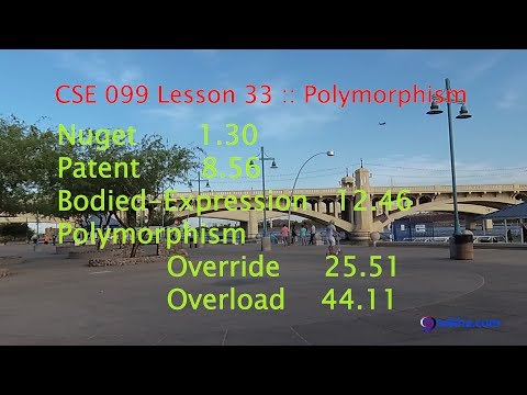 CSE 099 Lesson 33 :: Polymorphism, Nuget, Patent, Bodied-Expression