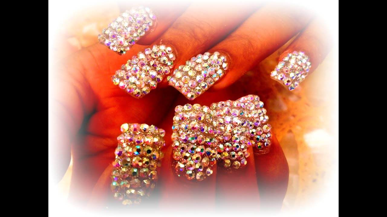 DIAMOND NAILS FULL HAND - YouTube