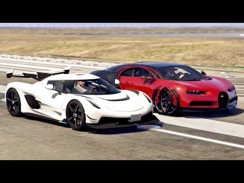 koenigsegg jesko vs bugatti chiron sport drag race youtube