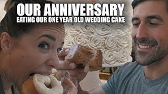 Our Anniversary - Donuts and Eating Our One Year Old Wedding Cake
