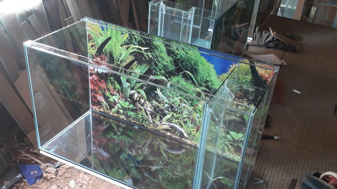 Pembuatan aquarium filter samping ukuran 70x30x40 kaca ...