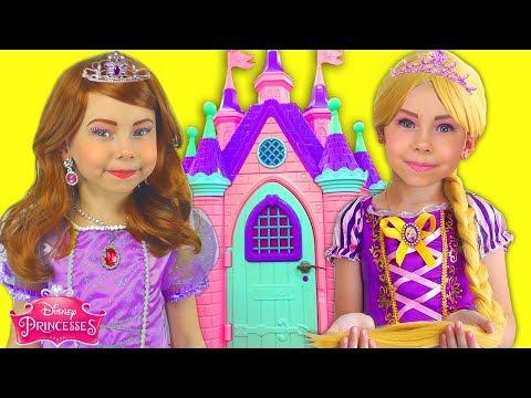 Kids Makeup Sofia The First & Rapunzel Dresses Disney Princess Pretend Play in Playhouse & DRESS UP