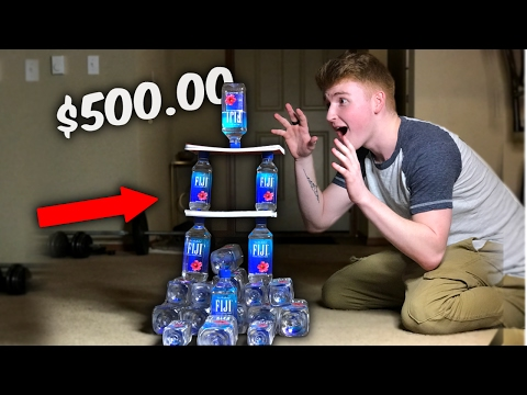 THE MOST EXPENSIVE WATER BOTTLE FLIPS EVER ( Biggest $500 Fiji Water Bottle Tower )