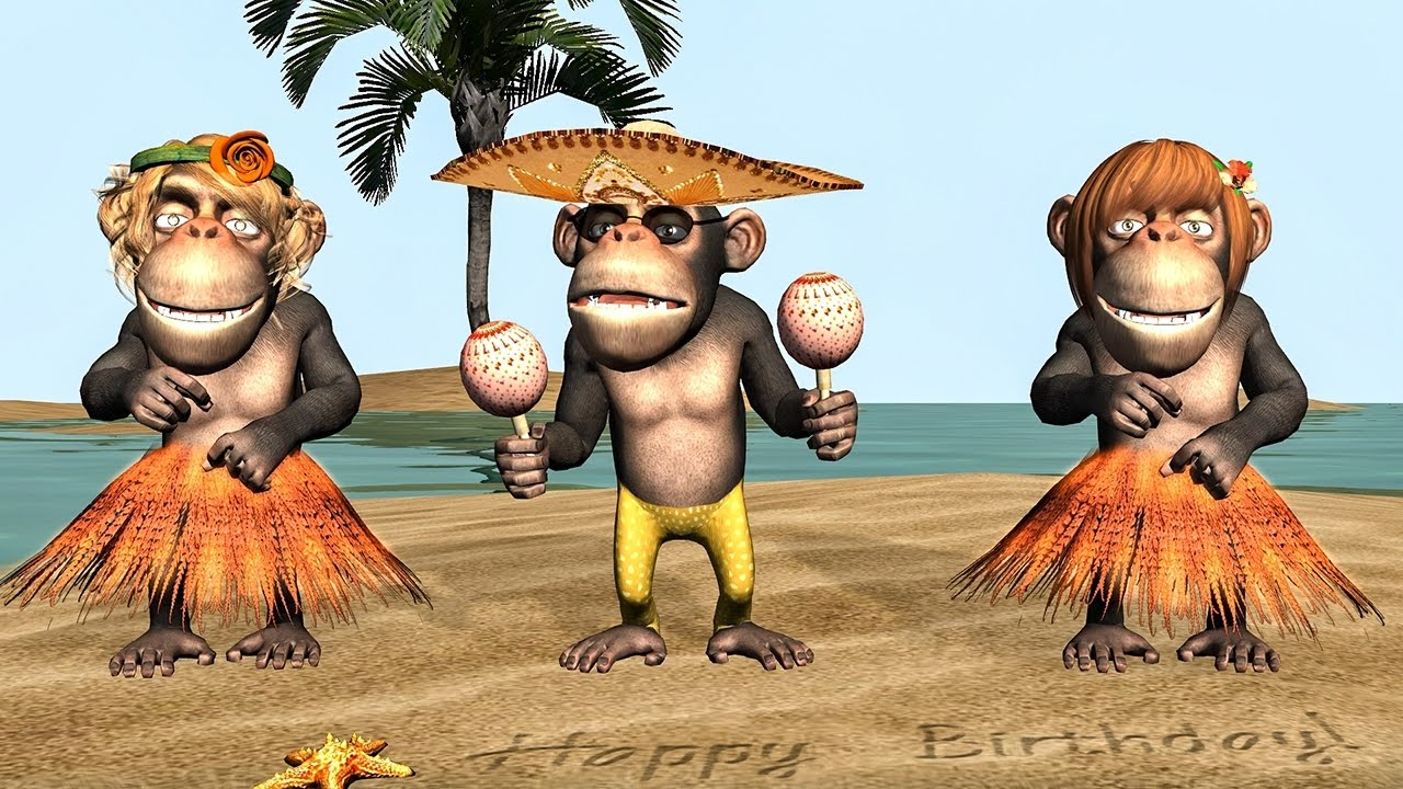 funny happy birthday song monkeys sing happy birthday to you youtube