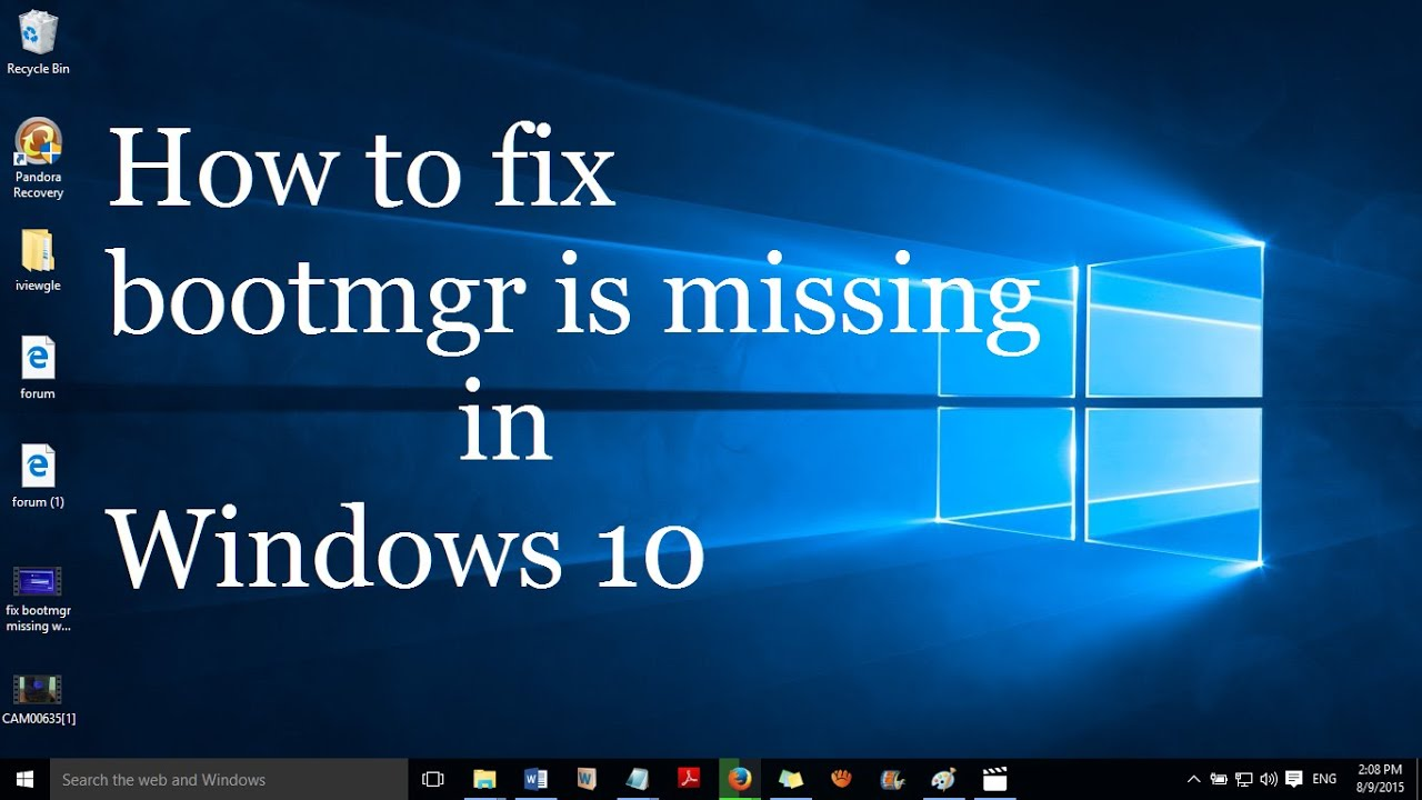 fix bootmgr is missing in windows 10 without formatting and reinstalling
