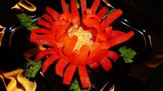Хризантема из перца! Chrysanthemum of pepper! Украшения из овощей! Decoration of vegetables!