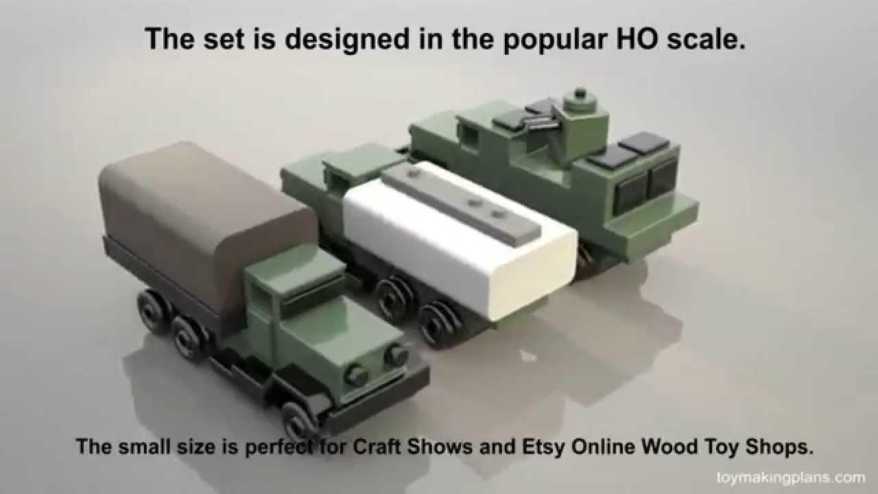 wood toy plans - vietnam troop-gun-fuel trucks