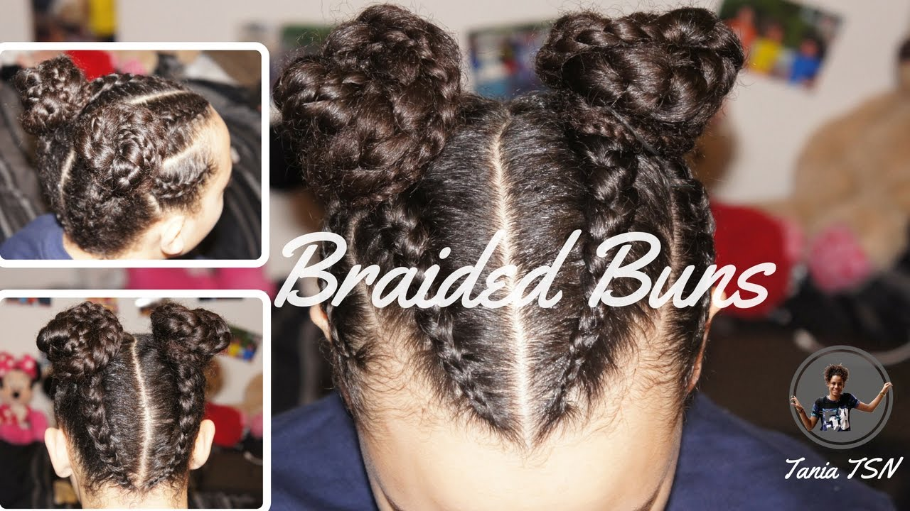 Double Braided Buns Protective Hairstyle Natural Hair