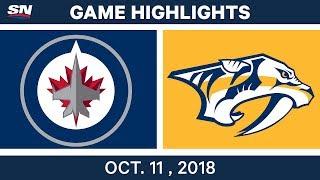 NHL Highlights   Jets vs. Predators - Oct. 11, 2018