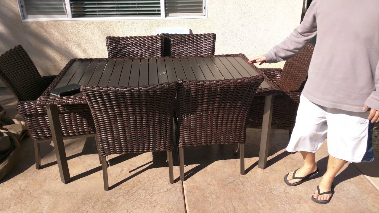 Hampton Bay Belleville 7 Piece Patio Dining Set Hampton Bay