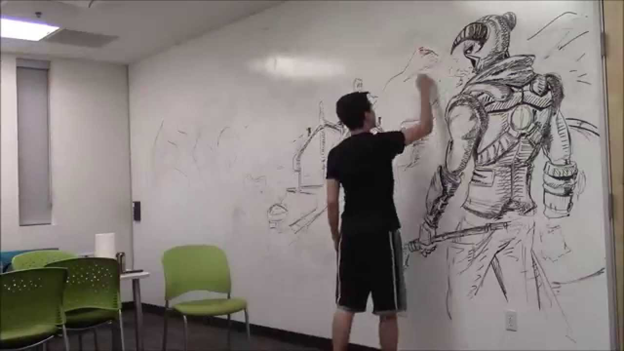 Cool Amazing HUGE Skyrim drawing Using only an expo marker How to Time Lapse YouTube