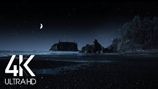 Night Time Ocean Sounds - 8 Hours Peaceful Sound of Waves Crashing on Ruby Beach in 4K