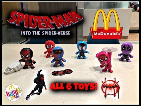 SPIDER-MAN INTO THE SPIDER-VERSE Movie MCDONALDS Happy Meal Toys! Dec 2018! All 6 Toys!