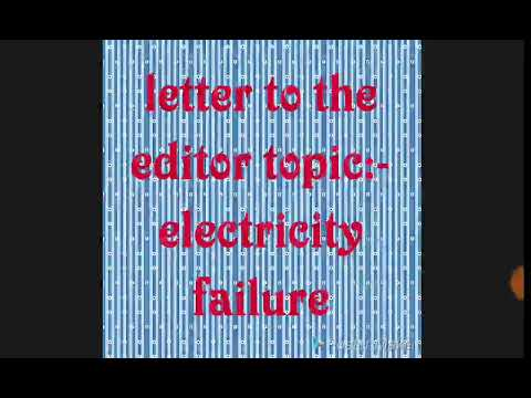 Letter to the editor:- frequent electricity failure ix to B.A .