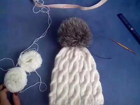 вязаная шапка с косами Youtube