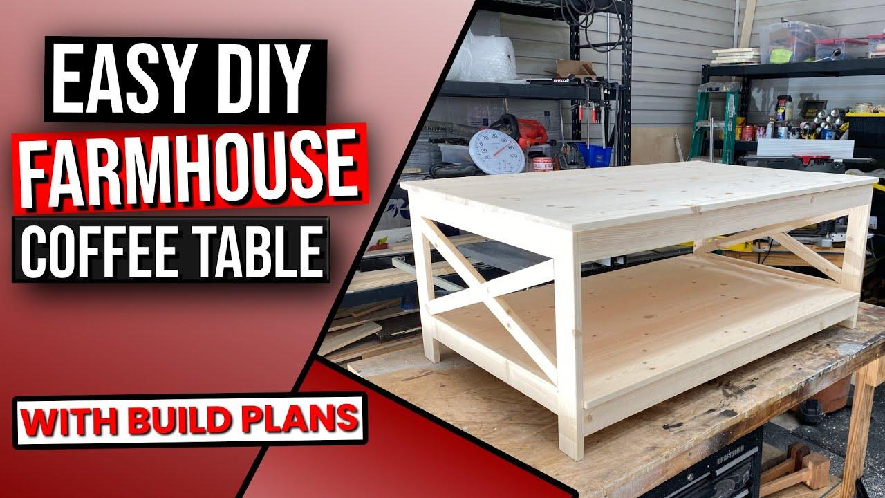Diy Farmhouse Coffee Table With Storage Youtube