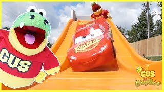 Kid goes to Outdoor Playground and plays with Disney Cars 3 Lightning McQueen Step2 Roller Coaster