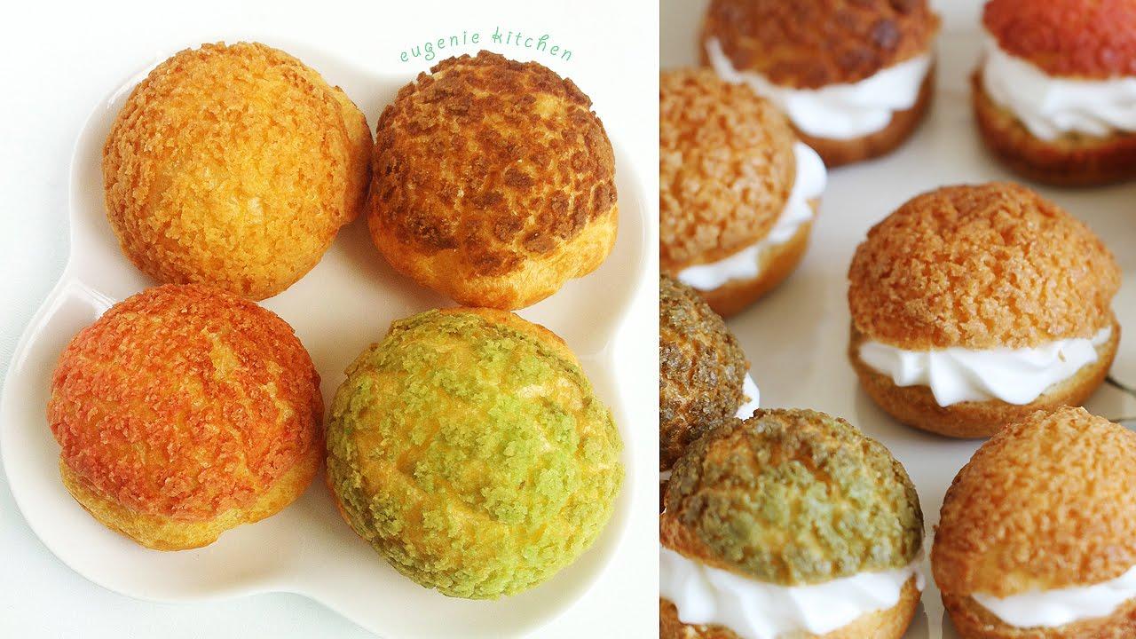 Choux au Craquelin - Crunchy Cream Puff Recipe 쿠키슈 만들기