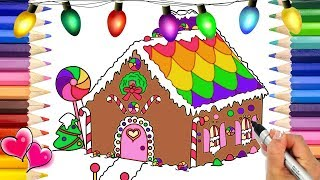 Gingerbread Dollhouse Coloring Page | Doll House Coloring Book | Christmas Coloring Pages Draw Color