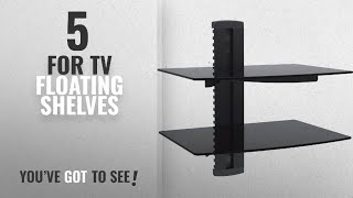 Top 10 For Tv Floating Shelves [2018 ]: WALI Floating Shelf with Strengthened Tempered Glass for DVD