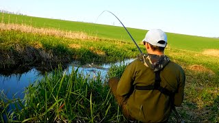 Рыбалка на МИКРОРЕЧКЕ удочкой с боковым кивком.Поклевки крупным планом