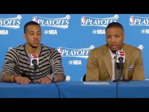 Damian Lillard and CJ McCollum Postgame Interview Game 5 NBA Playoffs Warriors vs Blazers