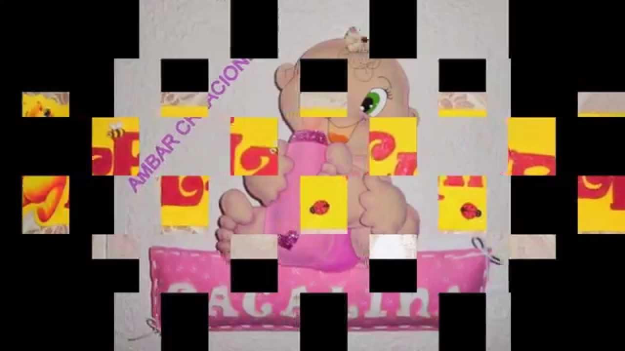 Adornos y carteles para cumplea os en goma eva de ambar for Adornos para pieza de bebe