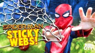 DIY Sticky Webs! Spider-Man Homecoming Movie Gear Test Pt. 3 for KIDS by KIDCITY