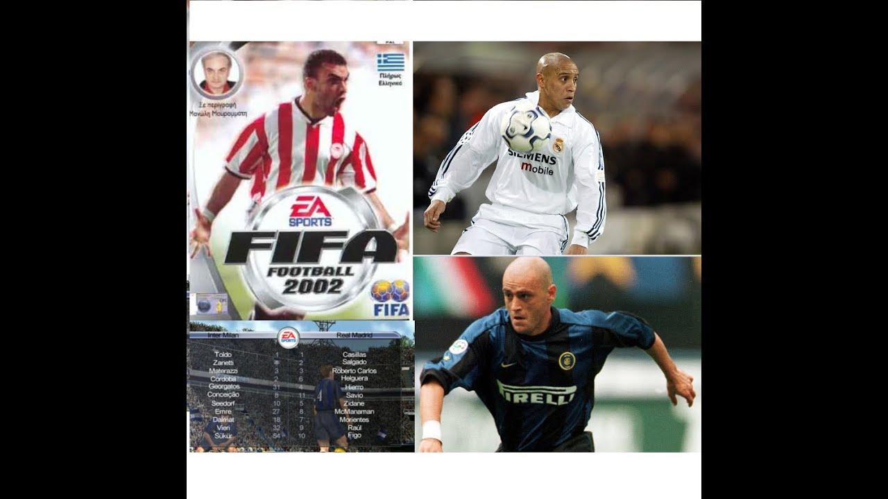 Fifa 2002 Ιντερ - Ρεαλ με την Θρυλική φωνή του Μανώλη Μαυρομάτη - Γκολ Ρομπέρτο Καρλος & Γεωργάτος