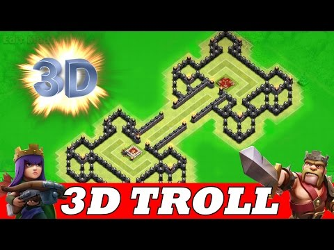"Clash Of Clans | INCREDIBLE 3D TROLL BASE! A MUST WATCH! | ""BATTLE ROYAL"""