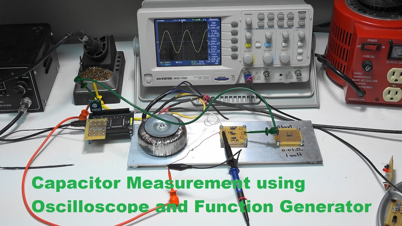 Function Generator And Oscilloscope : Capacitor measurement using oscilloscope function gene
