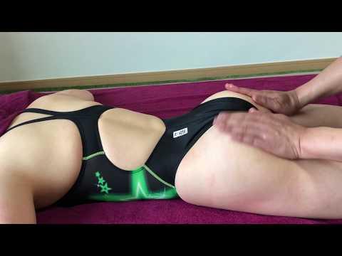 Japanese oil massage with black High leg swimsuit girl