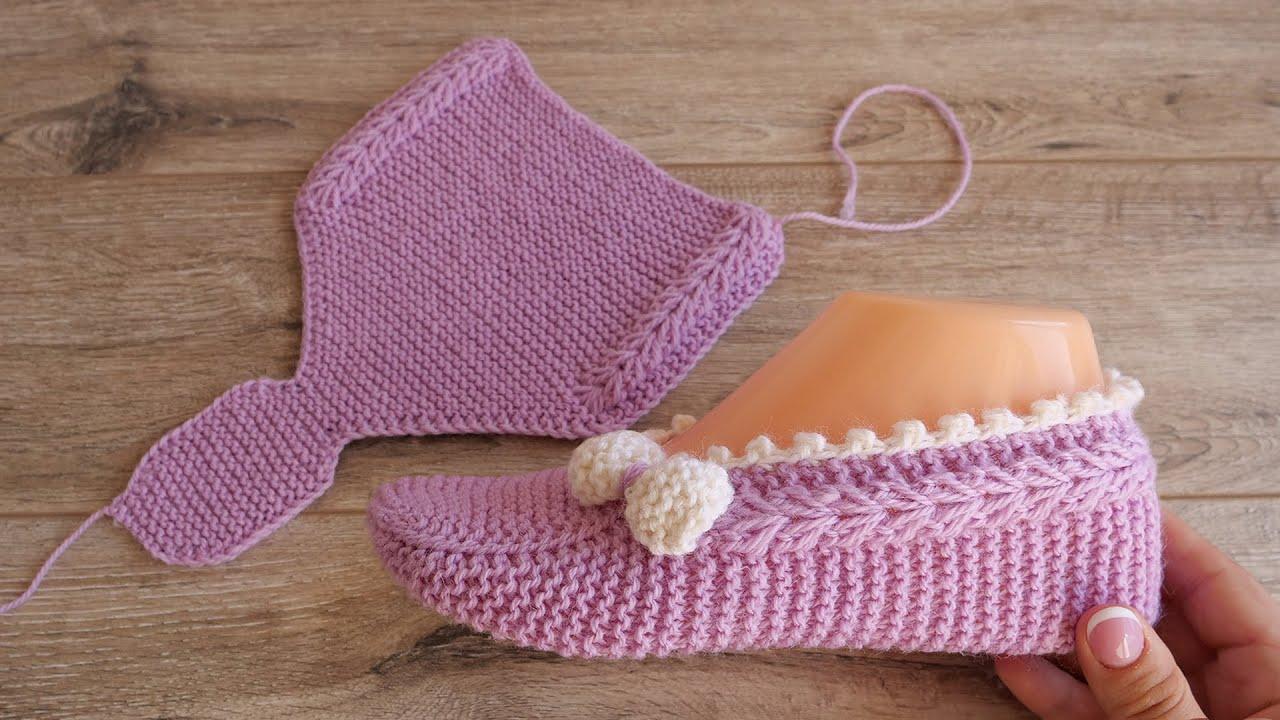 Следки «Розовая нежность» спицами | Knitted Slippers «Pink tenderness»
