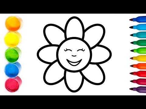 Glitter ✨Dibujamos una FLOR 🌼 Dibuja y colorea 💫 Coloring and Drawing