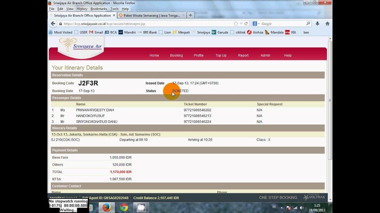 Cara Print Cetak Tiket Sriwijaya Air Youtube