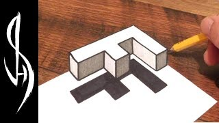 How to Draw 3D Floating Letter F - Trick Art Optical Illusion Drawing