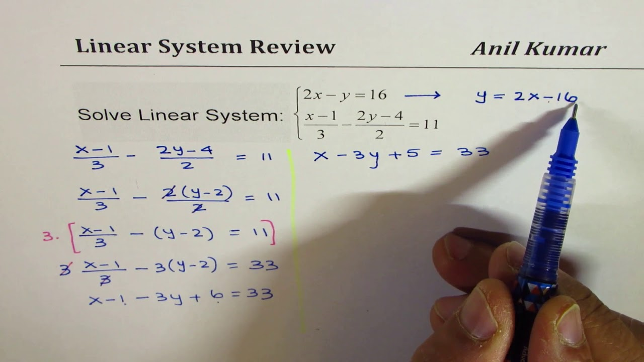 Solve Linear System with Fractions IB Math Grade 10