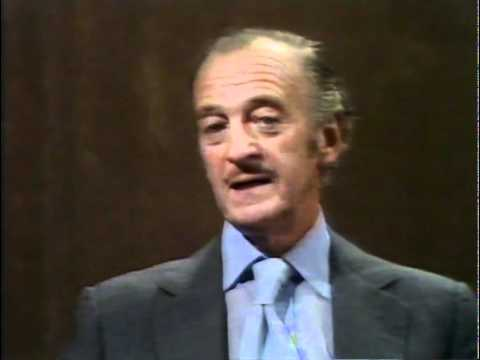 DAVID NIVEN. Telling his prawn story