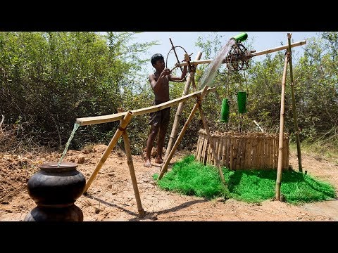 Bamboo Tube Water Wheel From Underground Well
