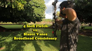 4 Inch Fletch vs. Blazer Vanes Fixed Blade Broadhead Grouping