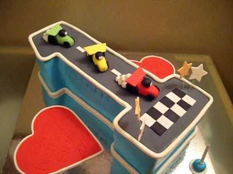 Number 1 First Birthday Cake Racing Cars YouTube