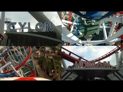 Battlestar Galactica Roller Coaster Side by Side POV Universal Studios Singapore