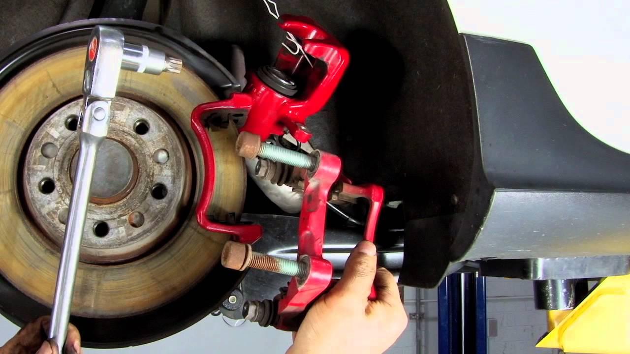 maxresdefault ecs tuning vw mkv rear brakes pad and rotor diy youtube